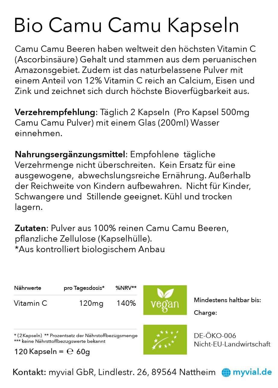 Vitamin C Kapseln, 120 Stück - Bio Qualität - aus